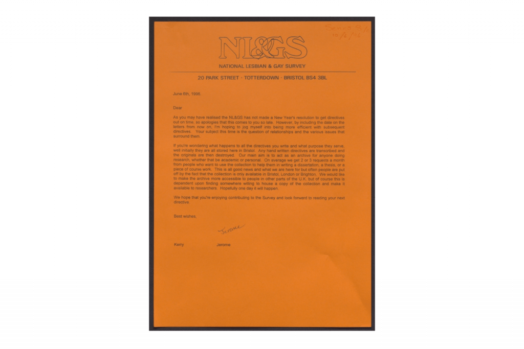 Orange paper with typed letter to National Gay and Lesbian Survey Participants, 1996