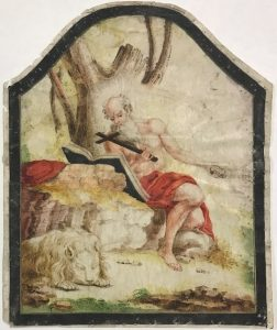 painting of a shirtless man, sitting on a rock reading a book. A lion sleeps at his feet.