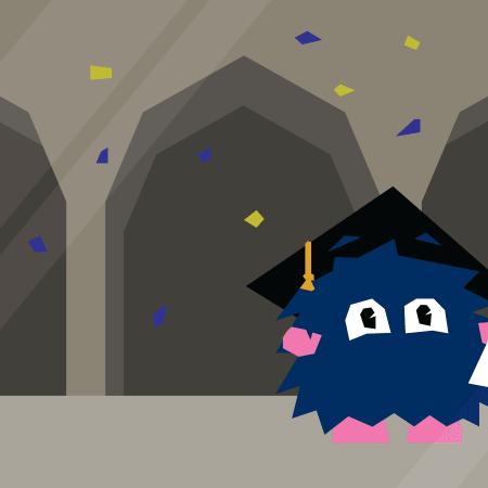 ICT Services Mascot graduating.