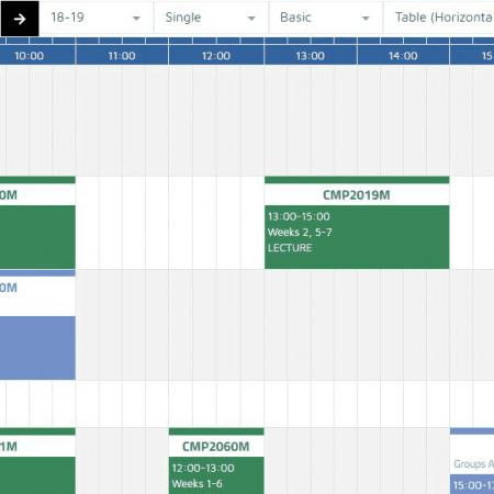 Timetable View Example. Screenshot.