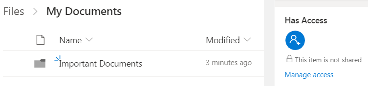 OneDrive Access Window Screenshot.