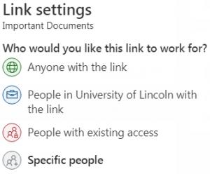Link Settings. Screenhot.