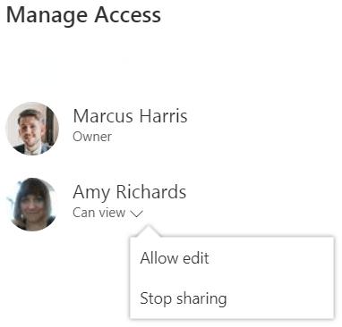Manage Access Screenshot.