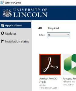 Adobe Acrobat icon within Software Center. Screenshot.