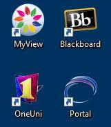 Desktop Icons for MyView, Blackboard, OneUni, Portal. Screenshot.