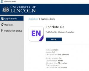 EndNote X9 as shown in Software Center.
