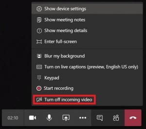 How to turn off incoming video in Microsoft Teams