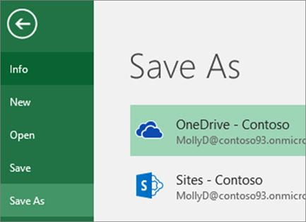 Screenshot of the Save As OneDrive option in Excel.