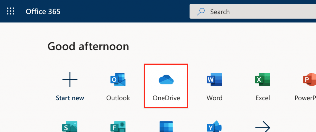 Screenshot of the OneDrive button highlighted in Office 365.