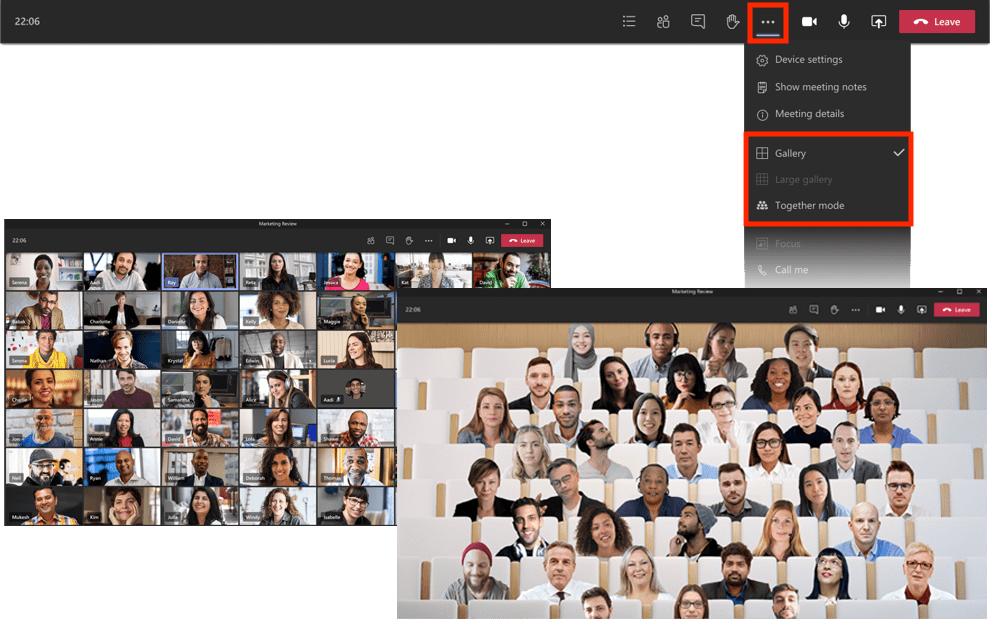 A composition of screenshots showing large gallery and together mode views within Teams.