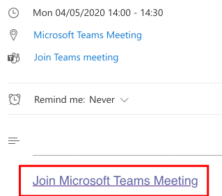 """A screenshot of a meeting invite with """"Join Microsoft Teams Meeting"""" link highlighted."""