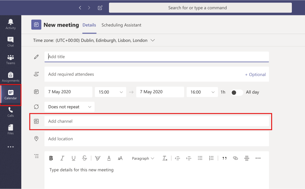 """Screenshot showing Meeting details screen in Microsoft Teams with """"Add Channel"""" option highlighted."""