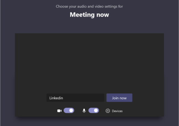 """Screenshot of the """"Meeting now"""" window which loads up before a guest enters a Teams meeting."""