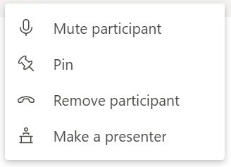 Screenshot of the options available when selecting a user in Teams.