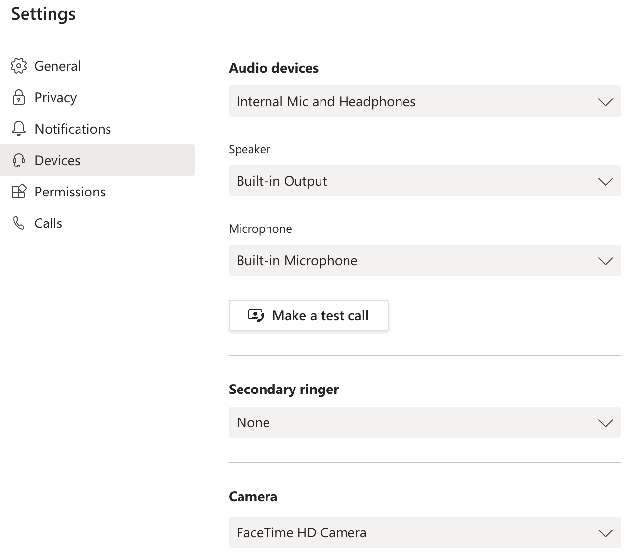 Screenshot of the Devices drop-down menus. Audio Devices, Secondary Ringer and Camera are listed as subsections.