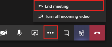 """Screenshot showing the """"End Meeting"""" button highlighted in the """"More Actions"""" menu in Teams."""