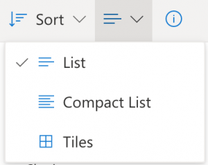 Screenshot of OneDrive file view drop-down on Office 365.