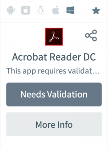 Screenshot of hover view for Acrobat Reader in AppsAnywhere.