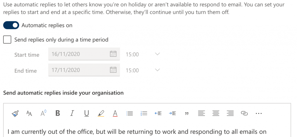 Screenshot of the Automatic Replies Window in Outlook 365