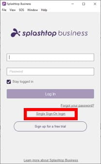 Screenshot of the Splashtop login window. Email and password fields are visible beneath a Splashtop business logo, and the single sign-on login link is visible below the Log In button.