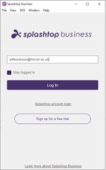 Screenshot of Splashtop login dialog window with only an email field.