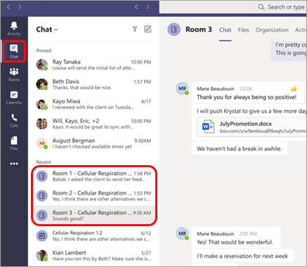 Screenshot showing breakout rooms listed as chats in the main Teams chat window.