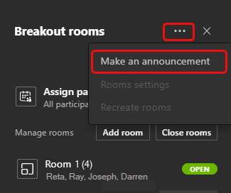 """Screenshot showing the """"Make an announcement"""" button highlighted within the more options menu."""