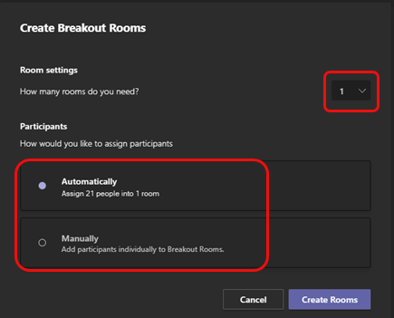 Screenshot of the Create Breakout Rooms window with the room number drop-down highlighted. The options for assigning users to rooms automatically or manually are also highlighted.