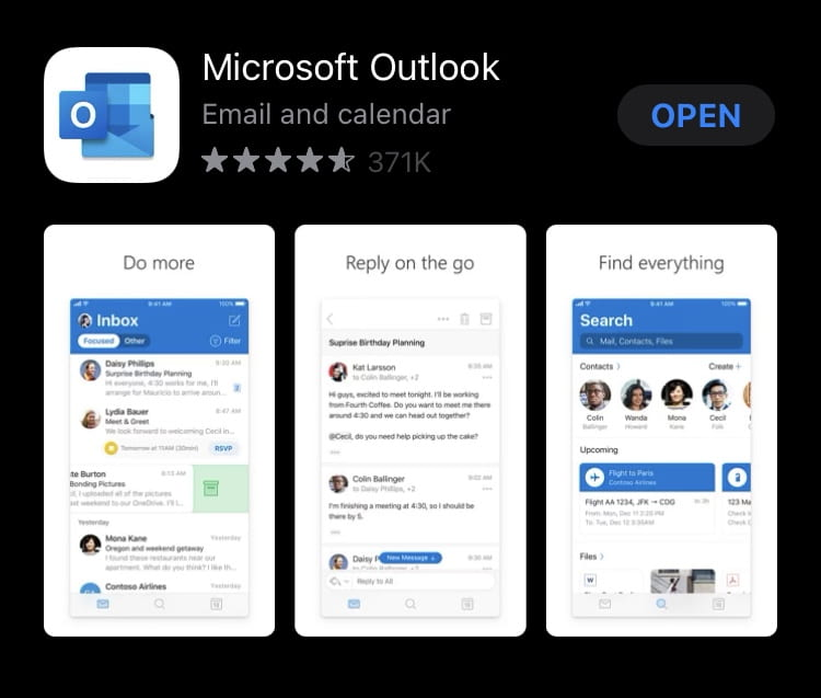 Screenshot of the Microsoft Outlook App in the App Store.