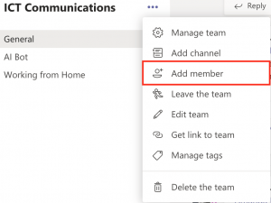 """Screenshot of the more options menu in a Team. """"Add member"""" is highlighted."""