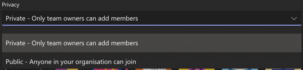 Screenshot showing the Privacy setting drop-down menu.