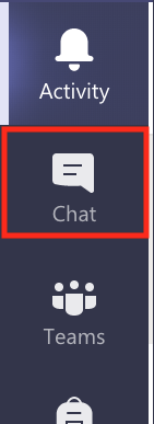 """Screenshot of the left-hand tabs bar in Teams. """"Chat"""" is highlighted."""