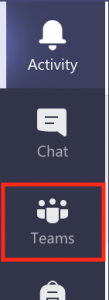 """Screenshot of the left-hand tabs bar in Teams. """"Teams"""" is highlighted."""