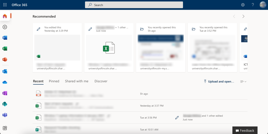 Screenshot of the main Office 365 screen displaying recent files. Files from various Office applications and stored on OneDrive are displayed across the middle of the page and in a list at the bottom.