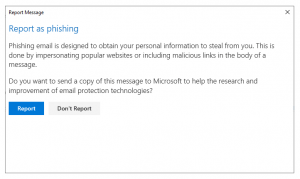 Message when you report a phishing email