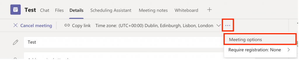 """Screenshot of the """"Meeting options"""" button highlighted in a Microsoft Teams Meeting window."""