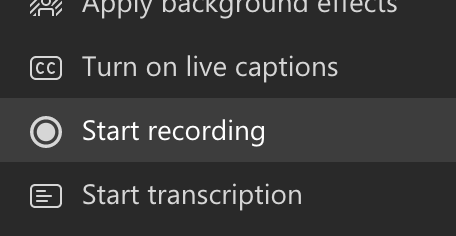 """Screenshot of the """"Start recording"""" button highlighted under the """"More actions"""" drop-down."""
