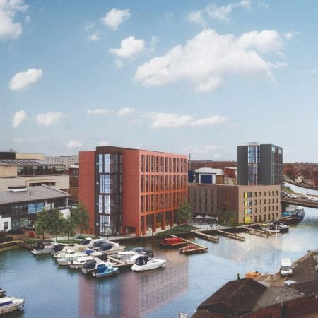 University of Lincoln buildings with Brayford Pool visible