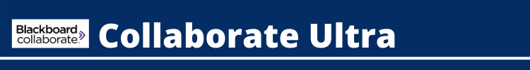 [Image with text description.] The image is a blue box with white writing that says 'Blackboard Collaborate Ultra'.  The purpose of the image is to provide a heading to a specific area within the page about Blackboard Collaborate Ultra.