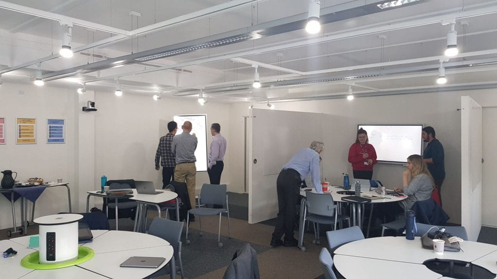 The Concept Suite showing users intearcting with available technologies during a meeting