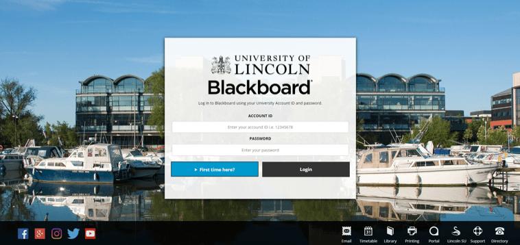 A screenshot showing the login page for Blackboard.