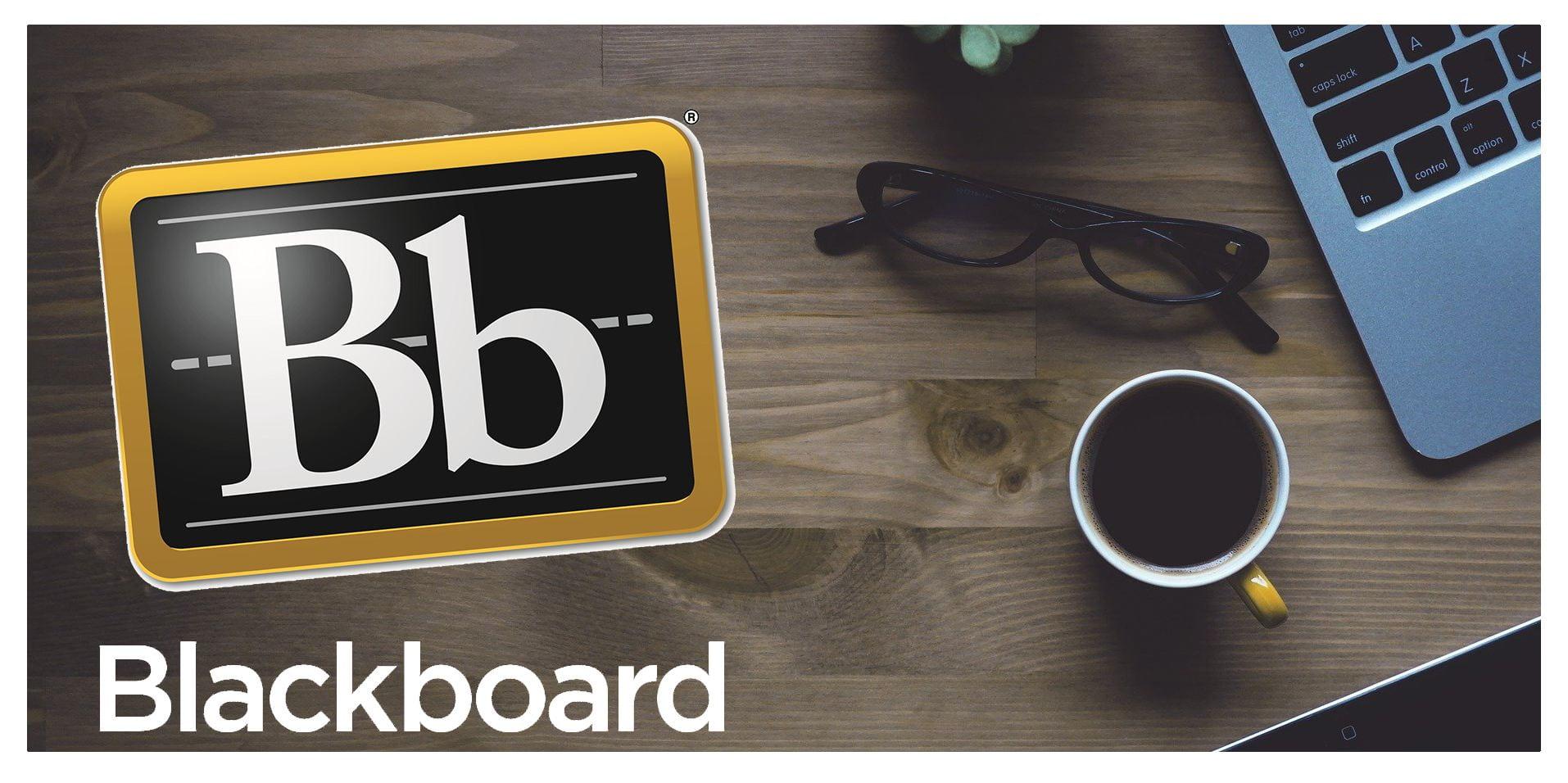 Laptop and Blackboard logo.