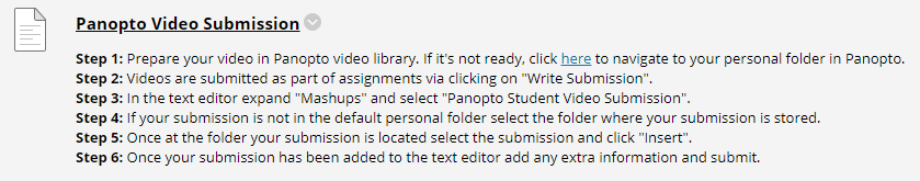 A screenshot showing that the assignment has been created along with instructions for the students on how to submit.