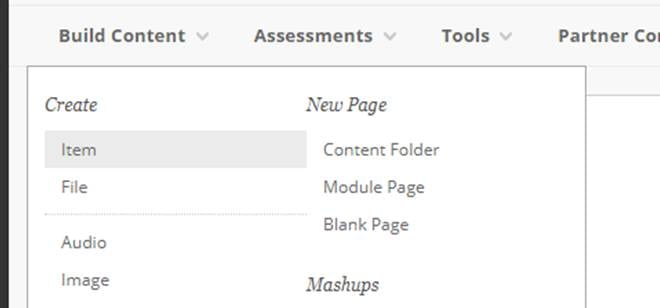 A screenshot showing the 'Build Content' menu from which you can choose the 'Item' option to add content to your module site.