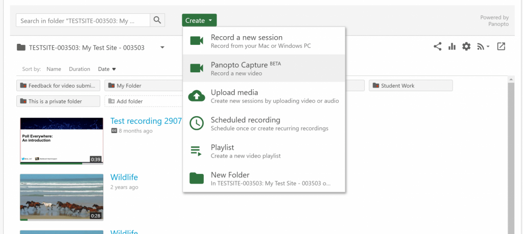 A screenshot showing the 'Create' menu from which you can select 'Panopto Capture' which will open the new Panopto Capture tool.