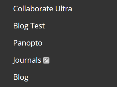 A screenshot showing the left hand navigation menu in Blackboard which includes a link to Panopto.