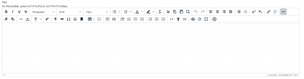 A screenshot showing the main text editor in the item creation screen. In the main text editor you will need to locate the plus icon (+) at the far bottom right of the editor.