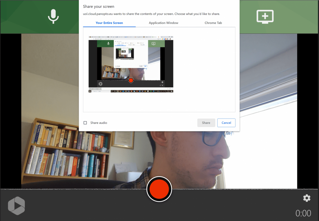 A screenshot showing the ability to Share your Screen to Panopto capture and record this as part of your video.