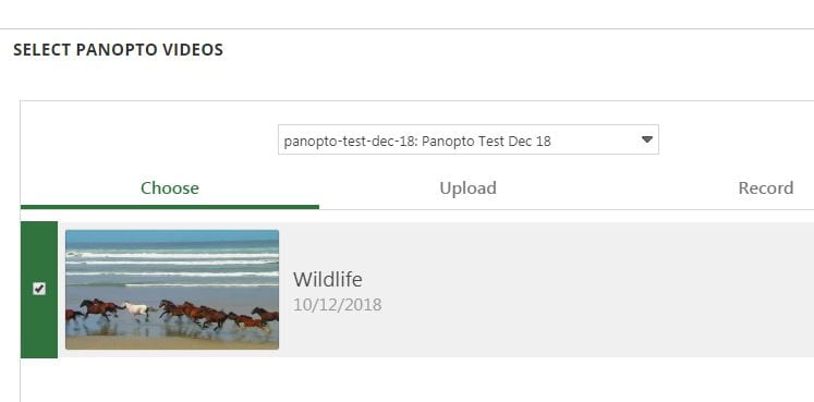 A screenshot showing all the Panopto videos located on your module site. You need to choose which one you wish to embed.