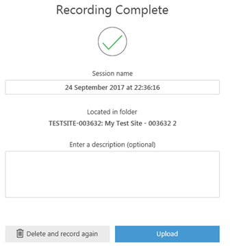 A screenshot showing the popup which appears when you have completed your recording and asks you for a session name and description if you wish to provide one.